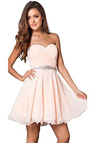 Milano Bride Damen Liebling Chiffon Herzform Kurze Abendkleid Heimkehrkleider Abschlusskleid Strass Pailette38-Rosa