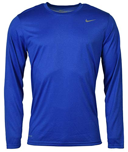 Nike Mens Legend Poly Long Sleeve Dri-Fit Training Shirt Game Royal Blue/Matte Silver 384408-493 Size Medium