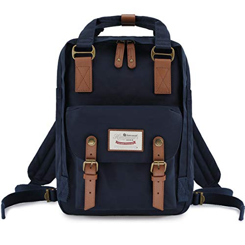 "Himawari School Functional Travel Waterproof Backpack Bag for Men & Women | 14.9""x11.1""x5.9"" | Holds 13-in Laptop (Dark blue)"