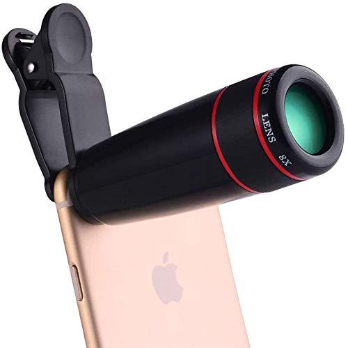 QZMX Lupa, 8X Monocular de teléfono móvil, Lupa de teléfono móvil, cámara Focal Ajustable de la cámara Focal fácil de Transportar. Lentes convexas