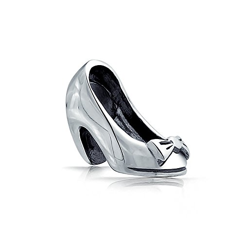 Ladies Bow Pump Stiletto Dance Party High Heel Shoe Charm Bead Pour Femmes Teen .925 Sterling Silver Fits European Bracelet