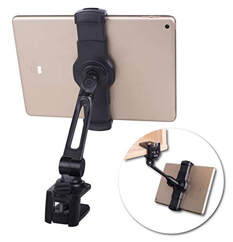 Ledetech Aluminum Tablet Stand Holder Clamp Mount Bracket Compatible with 4.7~12.9' iPad Air Pro mini, Phone (BLACK)