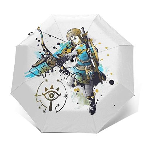 Legend of Zelda - Paraguas Plegable Compacto de Apertura y Cierre automático, Resistente al Viento y al Agua, Plegable