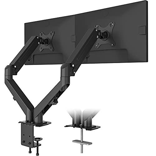 BONTEC Soporte Monitor Mesa Brazo Monitor Doble para Monitor Pantallas LCD LED de 13-27 Pulgadas, con Resorte de Gas de Movimiento Completo, Abrazaderas C,Soporte VESA 75-100 mm y Peso 2-6.5 kg