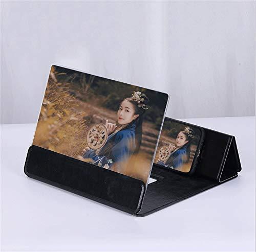 3D universeel beeldschermloep, 12 inch universele beugel versterker smartphone vergrootscherm Ultra HD mobiele videolupe HD-scherm vergrootglas zwart