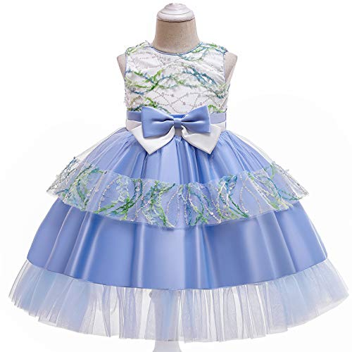 ZCRFYY Vestido de niña Vestido de niños Falda de Malla Lentejuelas niñas Princesa mullida Traje de Piano Vestido de Novia,Azul,150cm