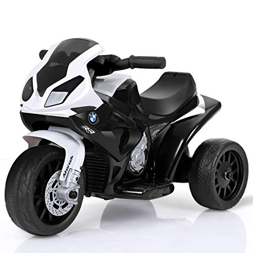 HONEY JOY Kids Ride On Motorcycle, 6V Battery Operated 3 Wheels Toy Tricycle with Headlight & Music, Foot Pedal, Electric Motorized Bicycle for Boys Girls (Black)