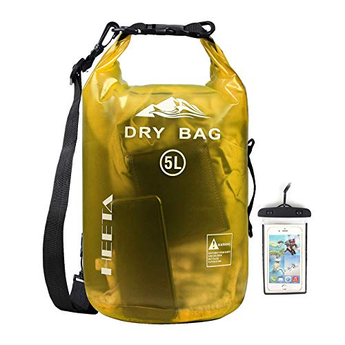 HEETA Waterproof Dry Bag for Women Men, Roll Top Lightweight Dry Storage Bag Backpack with Phone Case for Travel, Swimming, Boating, Kayaking, Camping and Beach, Transparent Yellow 10L