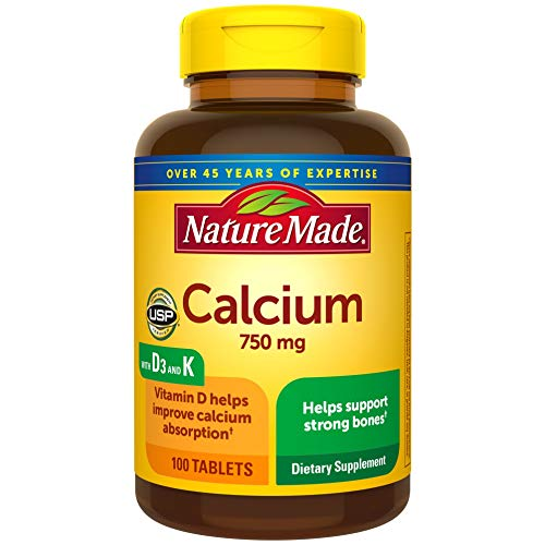 Nature Made Calcium 750 mg Tablets w. Vitamin D and K, 100 Ct for Bone Health† (Packaging May Vary)