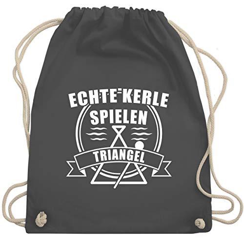 Shirtracer Instrumente - Echte Kerle spielen Triangel - Unisize - Dunkelgrau - Statement - WM110 - Turnbeutel und Stoffbeutel aus Baumwolle