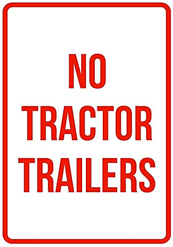 PotteLove Warning Sign Metal Tin Sign No Tractor Trailers No Parking Business Safety Traffic Signs Red Vintage Aluminum Plaque Wall Art Poster for Garage Man Cave Cafe Bar Pub Club Patio 12