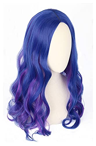 Lzpzz Mal Peluca, Peluca Larga rizada para Mujeres Adultos Azul y púrpura Tinte Peluca Disfraz de Halloween Cosplay Elegante Vestido peluces (Color : Kids)