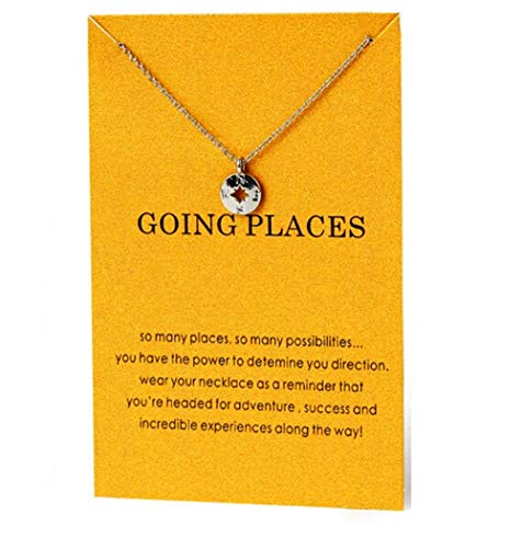Going Places Necklace, Compass Charm Pendant in an Organza Gift Bag, Inspirational