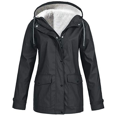 Lomelomme Windbreaker Damen Wasserdicht Regenjacke mit Kapuze Übergangsjacke mit Atmungsaktiv Futter für Herbst und Winter Fleecejacke