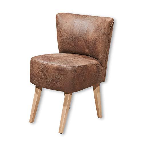 MARCEL Dining Sessel mit Massivholz Füßen & Microvelours Bezug, Hellbraun - Moderner Loungesessel mit gefedertem Sitz und gepolstertem Rücken - 64 x 87 x 66 cm (B/H/T)