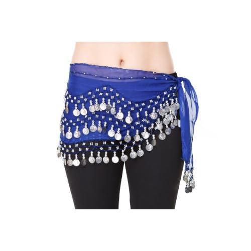 The Turkish Emporium Danza del Ventre Hip Gonna Wrap Costume orientale sciarpa NUOVA Cintura in chiffon, blu scuro con le monete d'argento