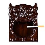 QUETW Cenicero Ebony Wood Wood Cenicero Creativo hogar Sala de Estar Tallado con Tapa, Gran Personalidad clásica Regalo cenicero para Alta Gama Creatividad (Color : Brown)
