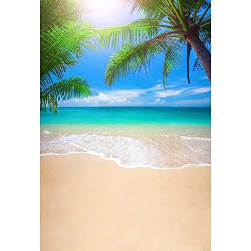Leowefowa 2x3m Vinyl Summer Beach Backdrop Tropical Sea Palm Tree Sunlight Blue Sky Vacation Photo Background for Hawaiian Birthday Wedding Party Beach Photo Booth Props Photography Backdrops