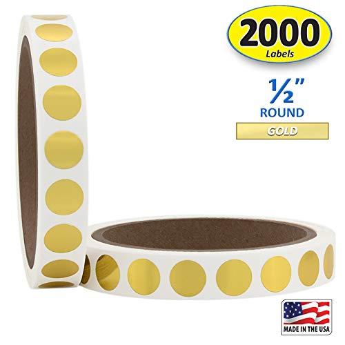 """1/2"""" Metallic Gold Round Color Coding Circle Dot Labels on a Roll, 2000 Stickers, 1000 Stickers per Roll.5 inch Diameter."""