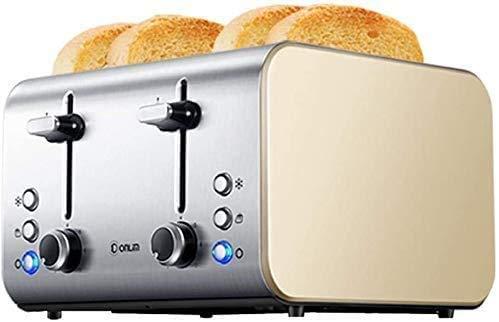 ykw Panificadoras, tostadora de Pan de Acero Inoxidable de 1400W, máquina de Desayuno para el hogar