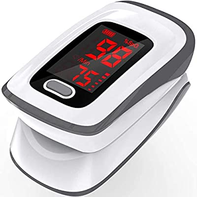 Pulse Oximeter?Pulse Oximeter Fingertip (Oximetro), Blood Oxygen Saturation Monitor, Heart Rate Monitor, Portable Pulse Oximeter with Lanyard and Batteries