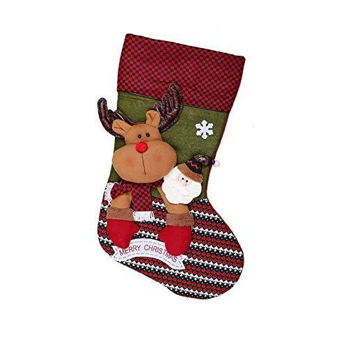 1 calcetín de Navidad 3d de renos gigante para colgar en la chimenea, calcetín de Navidad