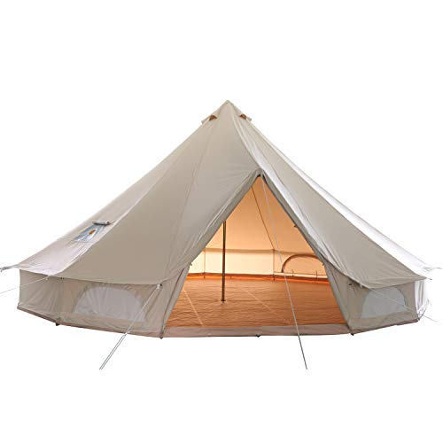 glamcamp Breathable 100% Cotton Canvas Bell Tent, Waterproof Large Tents with Sturdy Center & Door Pole and Space for 4 Person 6 Person 10 Person All 4 Season Camping Yurt Style Tent (16.6FT)