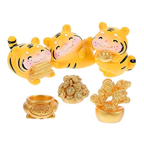 VALICLUD 6Pcs Résine Miniature Tigre Figurine Fée Jardin Figurines Fée Jardin Animaux Tigres Corne D' abondance de L' Argent Arbre Sculpture Statue pour Fée Jardin Accessoires Couleur