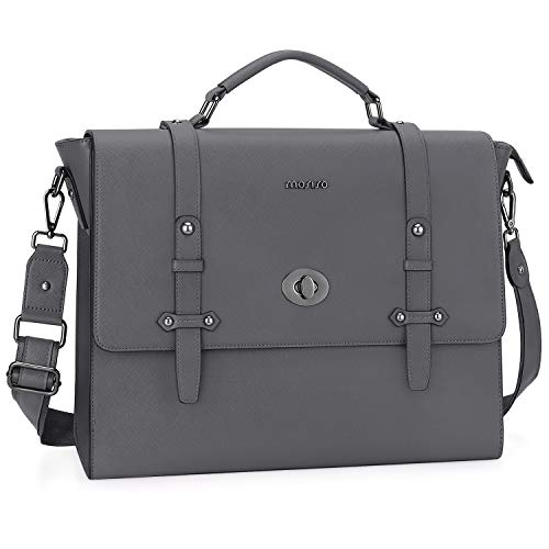 MOSISO 15.6 inch Laptop Messenger Shoulder Bag, Business Office Bag for Men Women, Waterproof Premium PU Leather Carrying Briefcase with Middle Button...