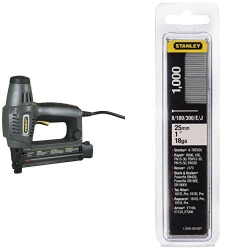 STANLEY 6-TRE650 - Clavadora electrica TRE650 para clavos tipo 8 & 1-SWKBN100T - Clavo/brad 8/300 / e/tipo j - 25mm - 1000 u.