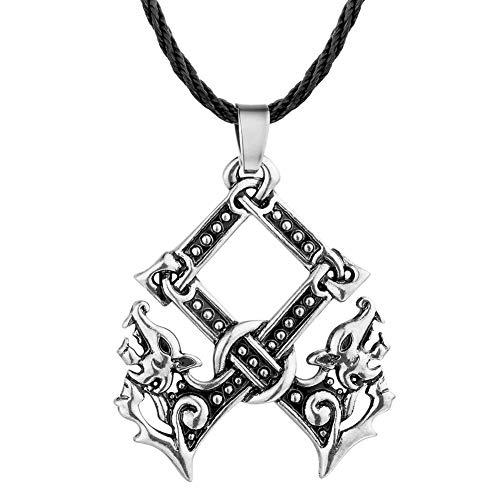 NA Halskette Anhänger Doppel Wolf Kopf Anhänger Kreuz Axt Halskette Herren Schmuck