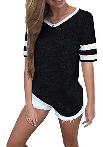 Ehpow Damen Kurzarm T-Shirt V-Ausschnitt Casual Sommer Lose Shirt Oversize Oberteile (Medium, Schwarz)