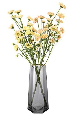 Luxspire Nordisch Stil Vase, mit Vertikale Linie Muster Blumenvase rutschfest Glasvase Dekovase Tischvase Blumenspender für getrocknete Seidenblumen Hause Büro Esstisch Fest Schmück Geschenk - Grau