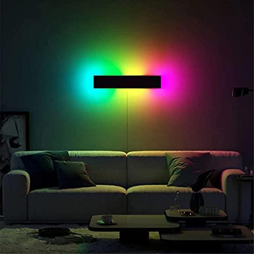 ZMLG RGB Aplique De Pared LED Regulable Lámpara De Pared Con Control Remoto, Iluminación Interior Con Cable De Enchufe, Luz De Humor Cambia De Color Colorido Para Dormitorio Sala De Estar,40cm