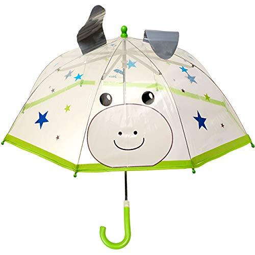alles-meine.de GmbH 3D Effekt - Regenschirm / Kinderschirm -  Esel - Pferd & Sterne  - durchsichtig & transparent - Ø 76 cm - durchscheinend - klar - Kinder Stockschirm - für M..
