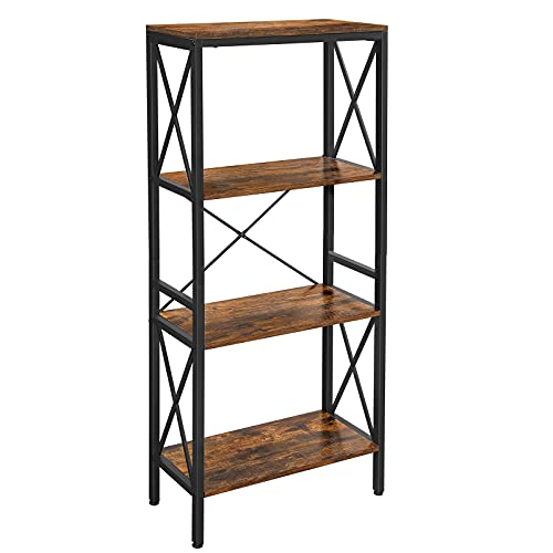 VASAGLE DAINTREE Bookshelf, Kitchen Shelf, Free Standing Shelf, Ladder Rack with 4 Open Shelves, for Kitchen, Office, Stable Steel Frame, Industrial Style, Rustic Brown and Black ULLS030B01