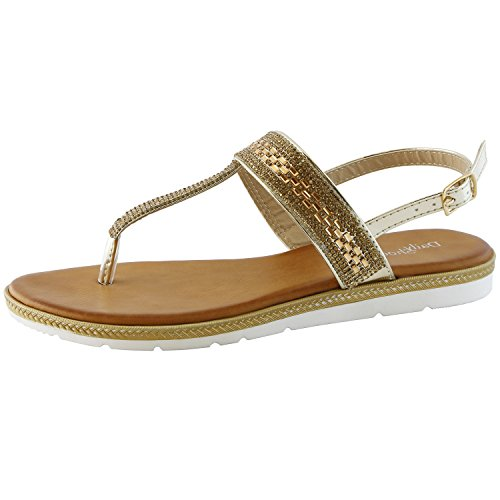 DailyShoes Thong Sandals with Rhinestones Flat Sandal T-Strap Flip-Flop Slingback Ankle Strap Shoes Cut Out Perforated Open Toe Shoe Mid Heel Three Metallic Colors Laurie-01 Gold Gl 8.5