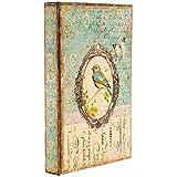 Coconut Grove Galleria Blue Bird Butterfly Turquoise Cream Vintage Style Decorative Book Box Wood Secret Storage Jewelry Money Photos
