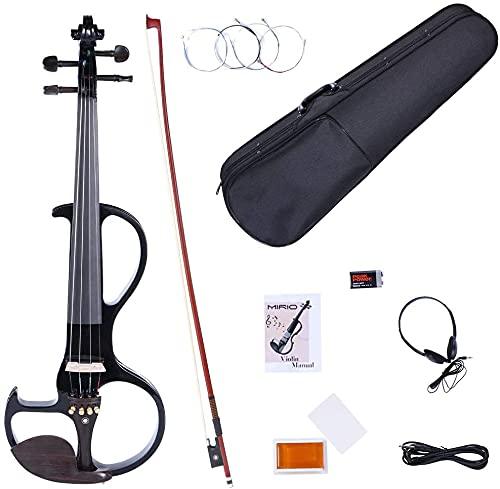 MIRIO Electric Violin, 4/4 Silent Electric Solid Wood Violin with Ebony Fittings in Metallic Black (Metallic Black-semicircle)