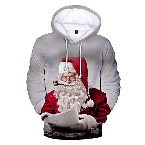 Zcbm Imprimé en 3D Cosplay Drawstring Hoodie Père Noël Rennes Pull Sports Outdoors Sweats Unisexe Big Pockets Apparel Vêtements À Capuche,B,M