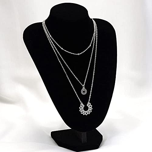 LKHJ Collar de Gargantilla de Flores en Capas Rhinestone Colgante Joyería Cadena para Mujeres y niñas (Plata) Conjunto de Tres Partes con Piedras Preciosas Negras