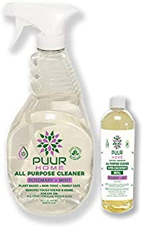 PUUR Home Natural All Purpose Cleaner. Best Value 32 oz.Spray + 4 oz Super Concentrate Makes 160 oz (1.25 gallons) Total.Rosemary Mint Scent - Baby Safe and Pet Safe - Non-Toxic - Biodegradable