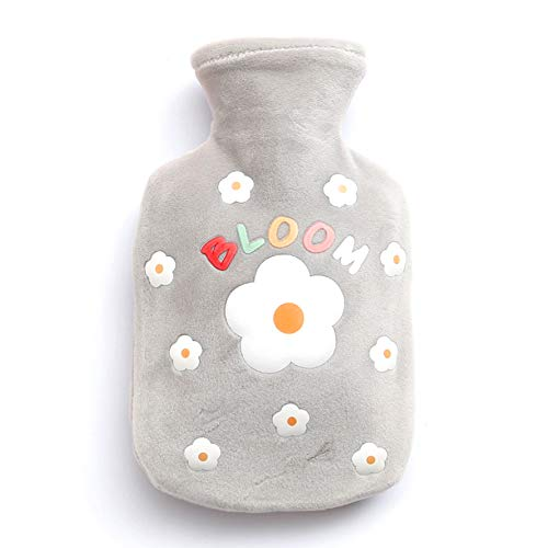 Bottiglia di acqua calda in gomma, custodia per acqua calda con copertura scaldamani in morbida peluche, borsa per acqua calda per alleviare il dolore da artrite, mal di testa, 7,68 * 4,88 pollici