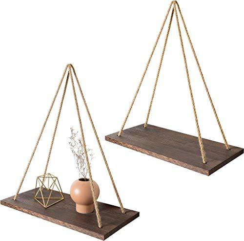 Mkouo Pared de Madera Estantes flotantes Columpio Colgando con Cuerda de Yute Decoración rústica del hogar, Conjunto de 2