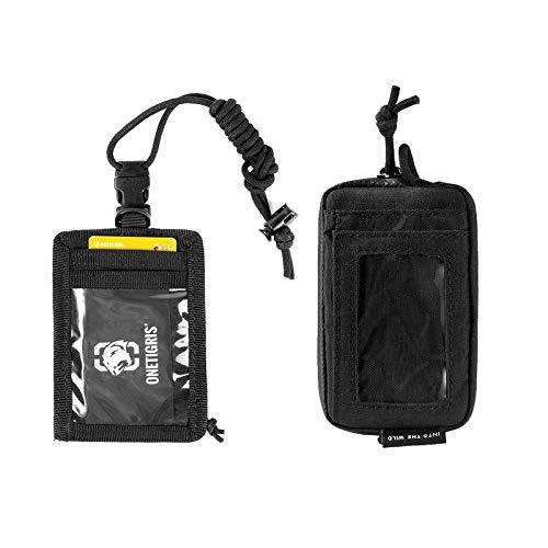 OneTigris Front Pocket Mini Wallet & UNIQ ID Badge Holder Breakaway Lanyard with Zippered Pocket