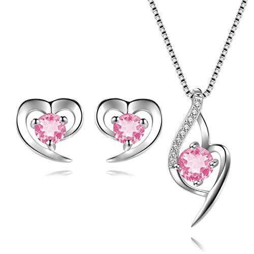 Parure di Gioielli Orecchini e Collana Argento Sterling 925 con Ciondolo Amore Cuore con zirconi cubici (rosa)