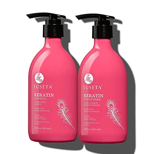 Luseta Keratin Shampoo and Conditioner for Color Treated Damaged & Dry Hair, Keratin Hair Treatment for Smoothing & Nourishing, Free of Sulfates, Paraben and Gluten 2 X 16.9Oz