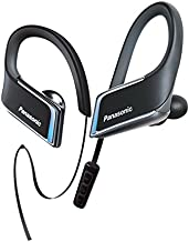 Panasonic WINGS Wireless Bluetooth In Ear Earbuds Sport Headphones with Mic + Controller and Flashing LED's RP-BTS50-K (Jet Black), IPX5 Water Resistant