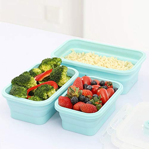 3 Stks Siliconen Lunch Box Inklapbare Voedsel Container Voedsel Inklapbare Opslag Container Magnetron Vriezer Safe 0419