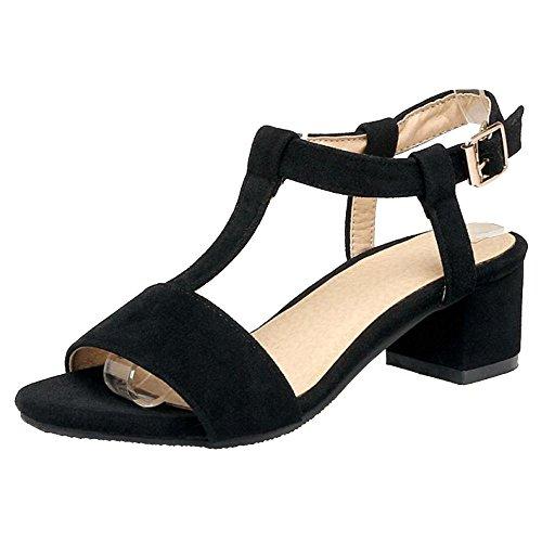 BeiaMina Donna Scarpe Elegante con Cinturino A T Sandali Tacco A Blocco Sandali Tacco Medio Estate Scarpe Black Numero 38 Asiatico